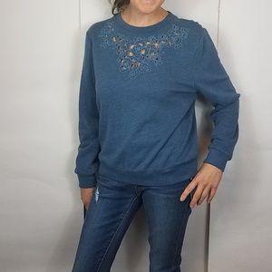 Abercrombie & fitch blue floral cutout sweatshirt